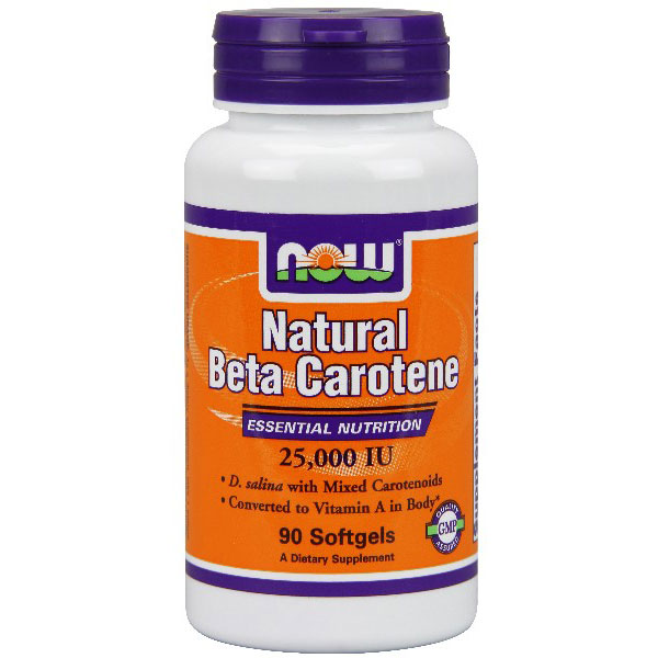 Natural Beta Carotene 25,000 IU 90 Softgels, NOW Foods