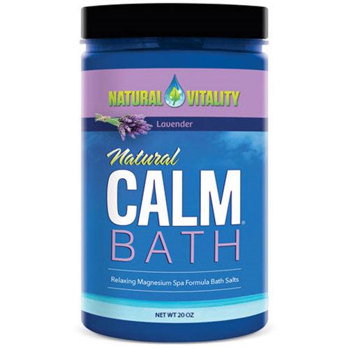 Natural Calm Bath - Lavender, Relaxing Magnesium Spa Formula Bath Salts, 20 oz, Natural Vitality