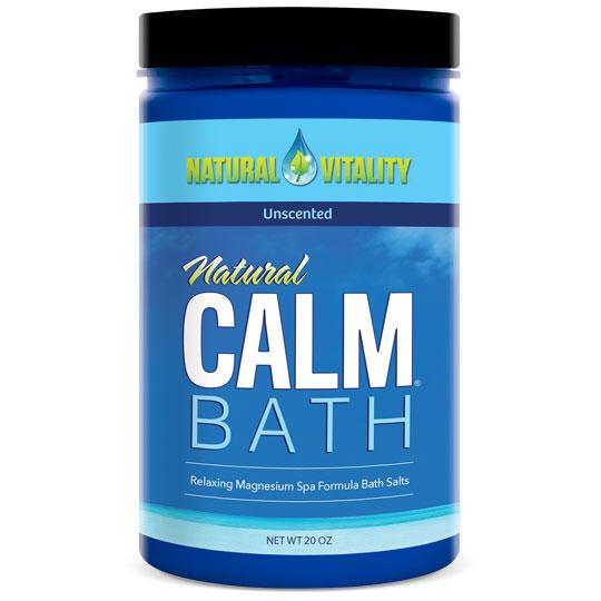 Natural Calm Bath - Unscented, Relaxing Magnesium Spa Formula Bath Salts, 20 oz, Natural Vitality