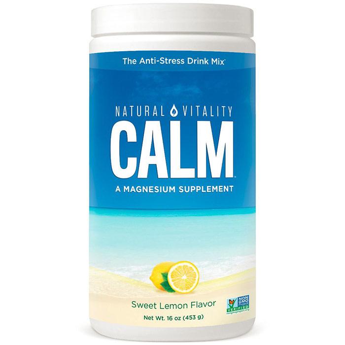 Natural Calm, Relaxing Magnesium Supplement - Sweet Lemon, 16 oz, Natural Vitality