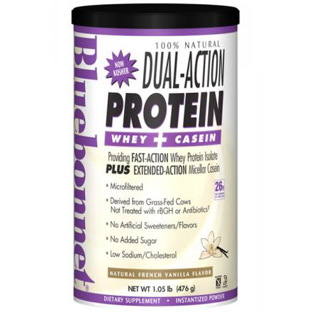 100% Natural Dual Action Protein Powder, Natural French Vanilla Flavor, 1.05 lb, Bluebonnet Nutrition