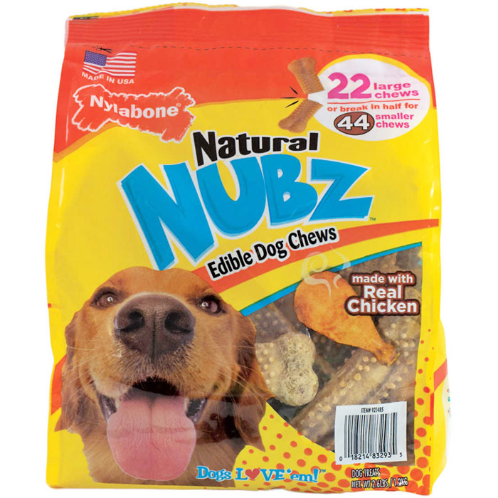 Nylabone Natural NUBZ Edible Dog Chews, 2.6 lb (22 Large Chews)