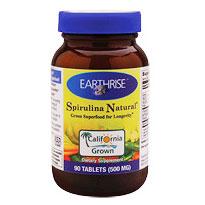 Natural Spirulina 500mg 90 tabs, Earthrise Nutritionals