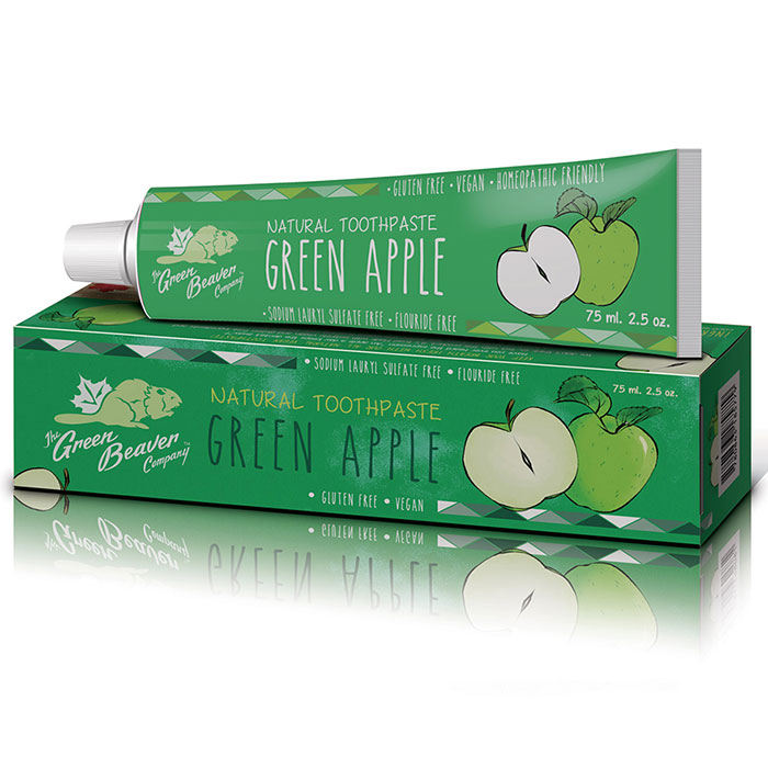 Natural Toothpaste - Green Apple, Kid Friendly, 2.5 oz, Green Beaver