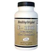 Natural Vitamin E-1000IU, Mixed Tocopherols, 120 SoftGels, Healthy Origins