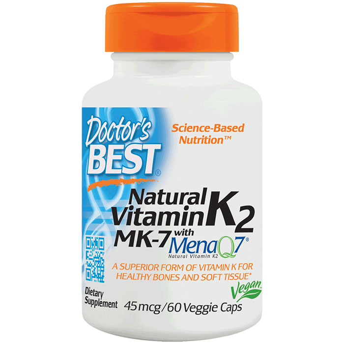 Natural Vitamin K2 MK7 with MenaQ7 45 mcg, 60 Veggie Caps, Doctors Best