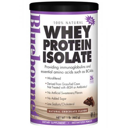 100% Natural Whey Protein Isolate Powder, Natural Chocolate Flavor, 1 lb, Bluebonnet Nutrition