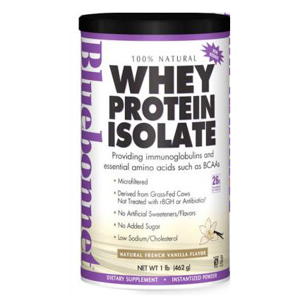 100% Natural Whey Protein Isolate Powder, Natural French Vanilla Flavor, 1 lb, Bluebonnet Nutrition