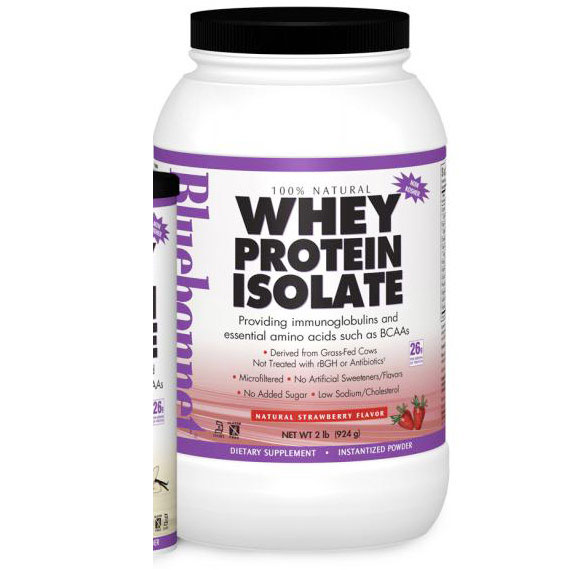 100% Natural Whey Protein Isolate Powder, Natural French Vanilla Flavor, 2 lb, Bluebonnet Nutrition
