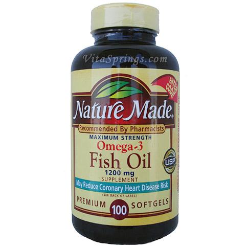 Nature Made Omega-3 Fish Oil 1200 mg 100 Softgels