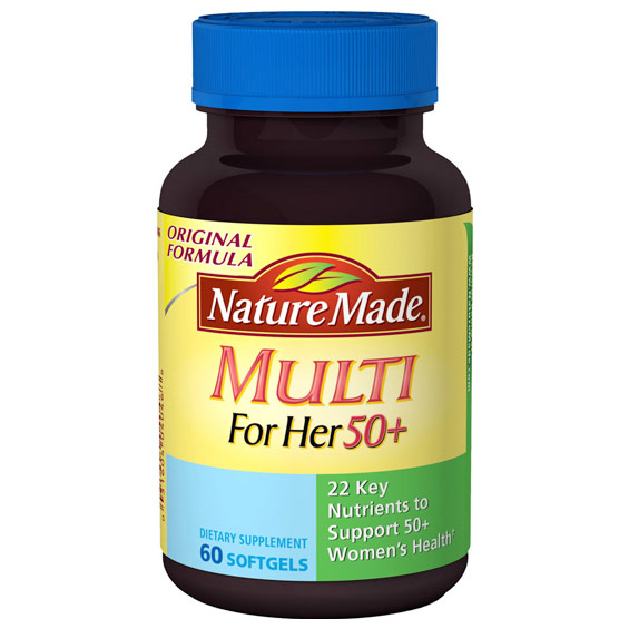 Nature Made Multi For Her 50+ Liquid Softgel Multi-Vitamins, 60 Softgels