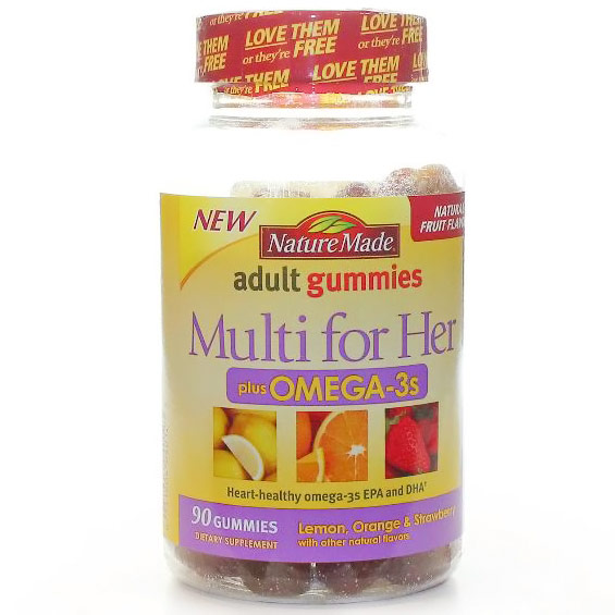 Nature Made Adult Gummies Multi for Her Plus Omega-3s, Chewable Multi-Vitamins, 90 Gummies