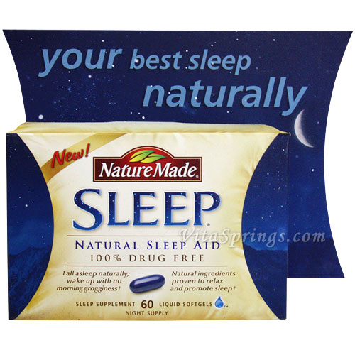 Nature Made Sleep, Natural Sleep Aid 100% Drug Free, 60 Liquid Softgels
