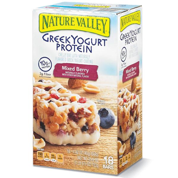 Nature Valley Greek Yogurt Protein Bars, Mixed Berry, 18 Bars