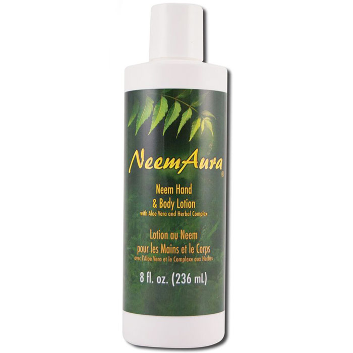 Neem Hand & Body Lotion, with Aloe Vera & Herbal Complex, 8 oz, Neem Aura