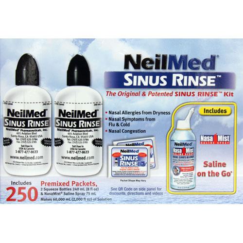 NeilMed Sinus Rinse Kit, 2 Bottles + 250 Packets + 75ml Spray