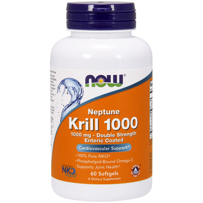 Neptune Krill 1000, Pure NKO, Value Size, 120 Softgels, NOW Foods