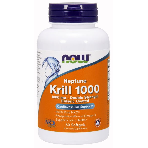 Neptune Krill Oil 1000 mg Enteric Coated, 60 Softgels, NOW Foods