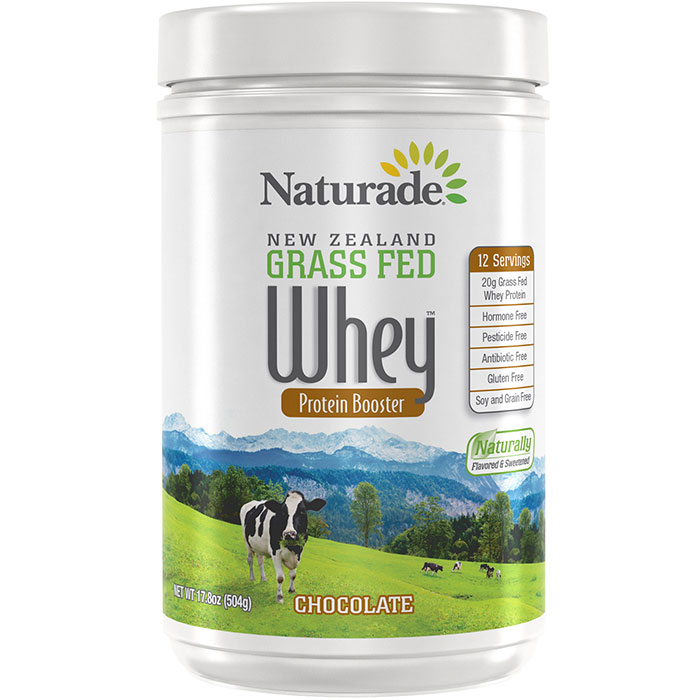 New Zealand Grass Fed Whey Protein Booster - Chocolate, 17.8 oz (12 Servings), Naturade