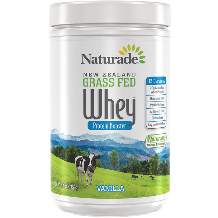 New Zealand Grass Fed Whey Protein Booster - Vanilla, 16.1 oz (12 Servings), Naturade