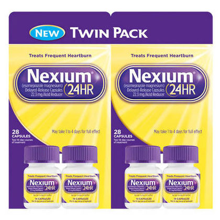 Nexium 24HR Twin Pack, Acid Blocker & Heartburn Relief, 28 Capsules x 2 Packages