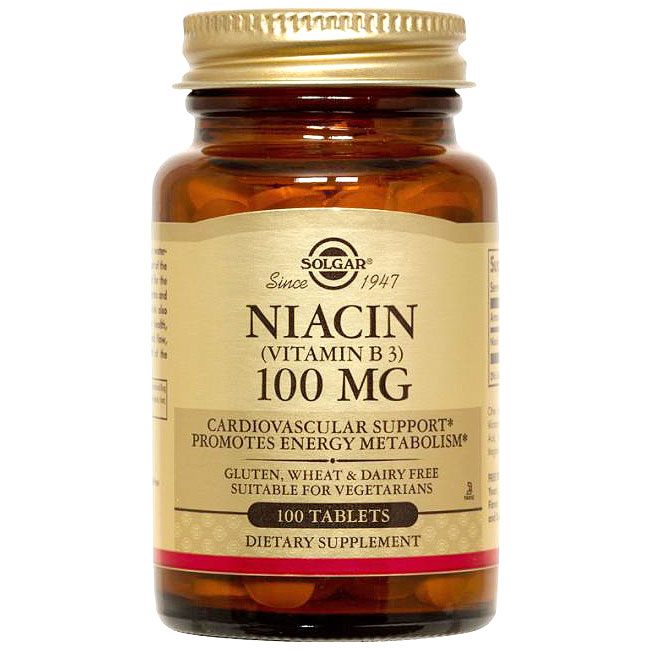 Niacin 100 mg (Vitamin B3), 100 Tablets, Solgar
