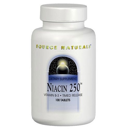 Niacin Vitamin B-3 250mg Time Release 250 tabs from Source Naturals