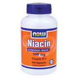 Niacin 500 mg, 100 Capsules, NOW Foods