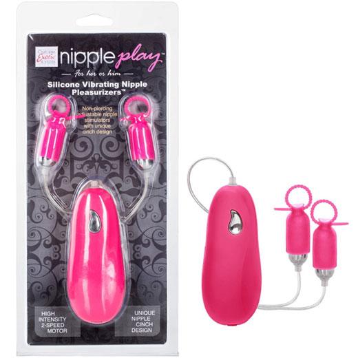 Nipple Play Silicone Vibrating Nipple Pleasurizers - Pink, California Exotic Novelties