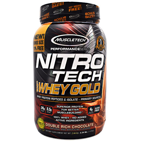 Nitro Tech 100% Whey Gold, Whey Protein Peptides & Isolate, 2.24 lb, MuscleTech