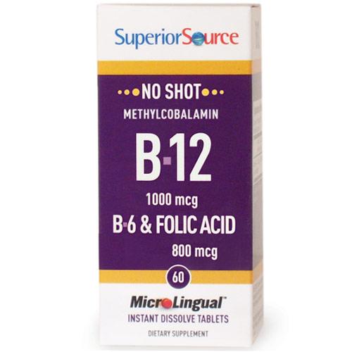 No Shot Methylcobalamin B12 1000 mcg, B6, Folic Acid 800 mcg, 60 Instant Dissolve Tablets, Superior Source