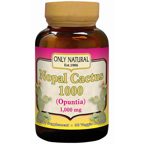 Nopal Cactus 1000 (Opuntia) 1000 mg, 90 Veggie Capsules, Only Natural Inc.
