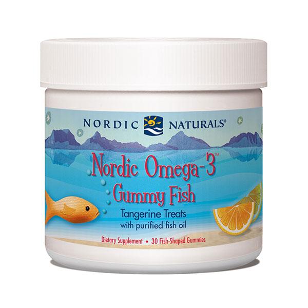 Nordic Omega-3 Gummy Fish, Chewable Fish Oil Tangerine, 30 Gummies, Nordic Naturals
