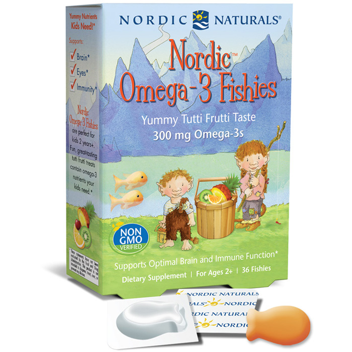 Nordic Omega-3 Fishies for Kids, Yummy Chewable Fish Oil, 36 Gummies, Nordic Naturals