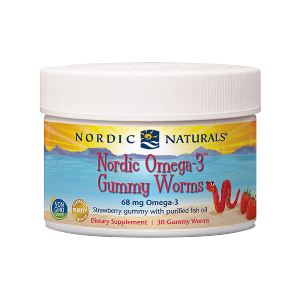 Nordic Omega-3 Gummy Worms, Chewable Strawberry, 30 Gummies, Nordic Naturals