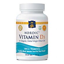Nordic Vitamin D3 1000 IU, Orange Flavor, 120 Softgels, Nordic Naturals
