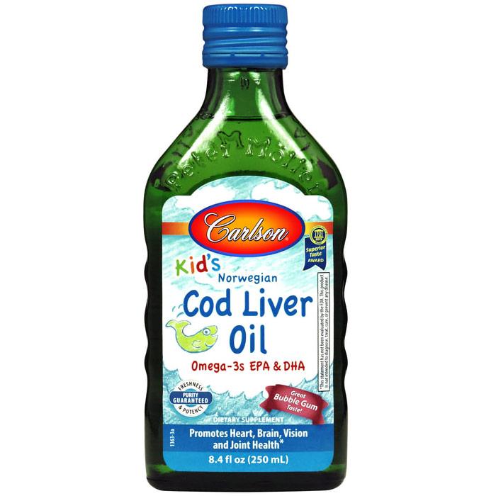 Norwegian Cod Liver Oil Liquid for Kids, Bubble Gum, 250 ml, Carlson Labs