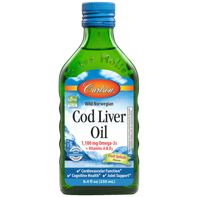 Norwegian Cod Liver Oil Liquid, Bubble Gum, 250 ml, Carlson Labs