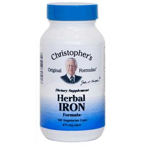 Herbal Iron Capsule, 100 Vegicaps, Christophers Original Formulas
