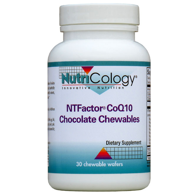 NTFactor CoQ10 Chocolate Chewables, 30 Chewable Wafers, NutriCology