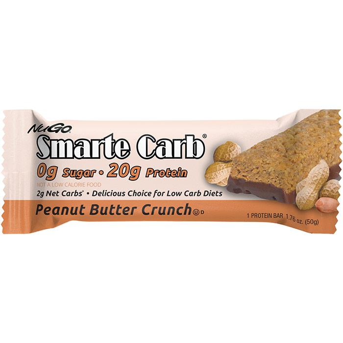 Smarte Carb Nutrition Bar, Peanut Butter Crunch, 1.76 oz x 12 pc, NuGo Nutrition
