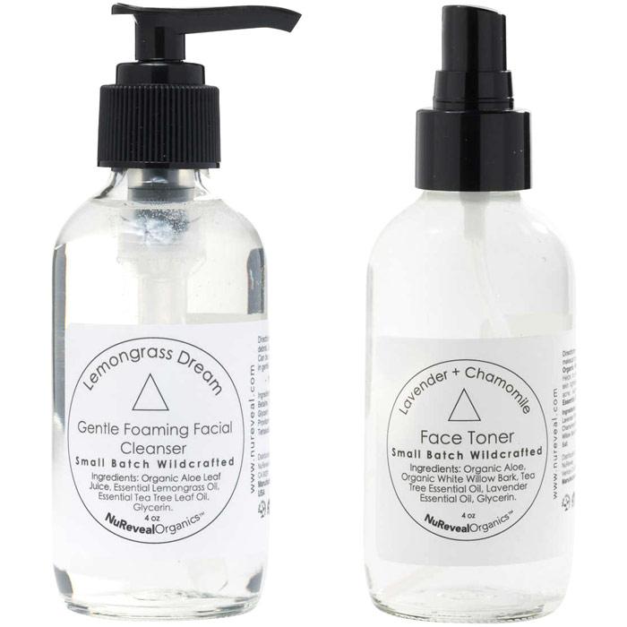 NuReveal Organics Lemongrass Dream Gentle Foaming Facial Cleanser & Lavender + Chamomile Face Toner, 4 oz + 4 oz
