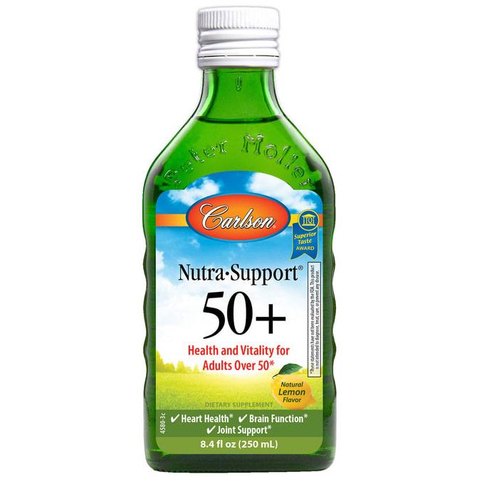 Nutra-Support 50+ Liquid Supplement, Natural Lemon Flavor, 8.4 oz, Carlson Labs