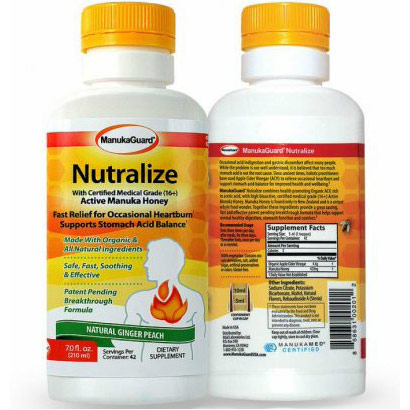 ManukaGuard Nutralize for Heartburn Relief, with Certified Medical Grade (16+) Active Manuka Honey, Ginger Peach, 7 oz