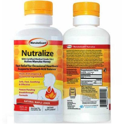 ManukaGuard Nutralize for Heartburn Relief, with Certified Medical Grade (16+) Active Manuka Honey, Maple Lemon, 7 oz