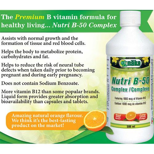 Nutri B-50 Complex Liquid, 500 ml, Naka Herbs & Vitamins Ltd