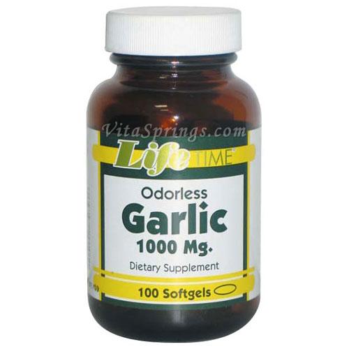 Odorless Garlic 1000 mg, 100 Softgels, LifeTime
