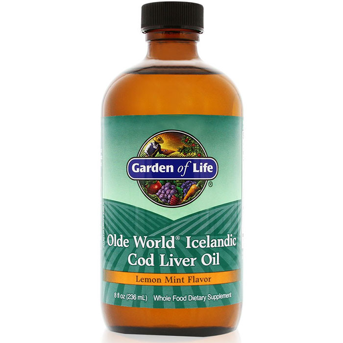 Olde World Icelandic Cod Liver Oil Liquid, Lemon Mint Flavor, 8 oz, Garden of Life