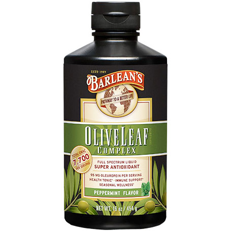 Olive Leaf Complex Liquid, Peppermint Flavor, 16 oz, Barleans Organic Oils (Super ORAC Antioxidant)