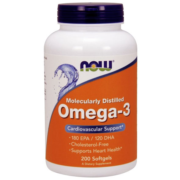 Omega-3 1000mg Fish Oil Concentrate 200 Softgels, NOW Foods